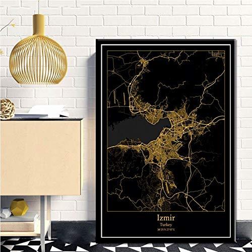 SERTHNY afdrukken schilderijafbeeldingen, Izmir Turkije zwart &Amp; Gold City Light Maps Custom Wereld Stadsplan Poster Kunstdruk op canvas in Scandinavische stijl Wall Art Home Decor 30×40cm (11.81×15.74inch)no frame