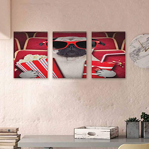 """Pug Canvas Wall Art Set Funny Dog Watching Movie Popcorn Soft Drink and Glasses Animal Photograph Print 3D Hand-Painted On Canvas Art Prints for Home Walls Decor, 16""""x31"""" x3 Panels Red Cream Ruby"""