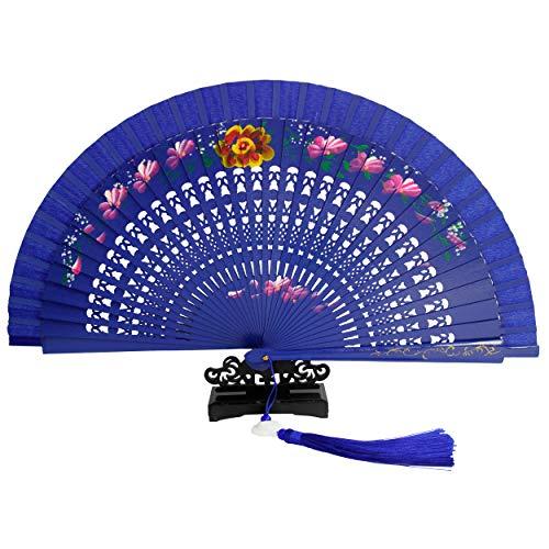 Ryumei 9.06' (23cm) Portable Bamboo Folding Fan Portable Fan, Chinese/Japanese Style Charming Elegant Retro Style, Women's Clothing Women's Best Gift, Fan Shaped Jade Pendant (Blue)