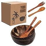 Coconut Bowls and Spoons Kit, Luxiv Natural Coconut Bowls for Salad Smoothie Coconut Bowl with 2 Coconut Spoons and 2 Coconut Forks Hand Made Coconut Shells Bowls