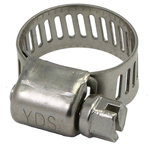 YDS All 300 Grade Stainless Steel Mini Hose Clamp, Worm Drive, SAE Size 2, 1/4' to 1/2' Diameter Range, 0.35' Bandwidth (Pack of 10)