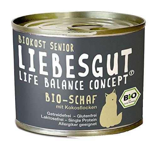 Liebesgut Bio kattenvoer senior kip, Schaap, 12er Pack (12 x 200 g)