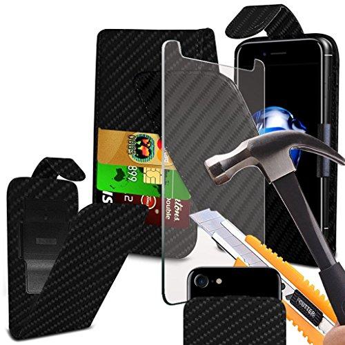 i-Tronixs OUKITEL K3Case Cover Tasche mit Carbon-Effekt, mit verstellbarer Clamp Flip Case Cover Hülle mit Kredit-/Oukitel K3von Hülle mit Bildschirmschutzfolie aus gehärtetem Glas