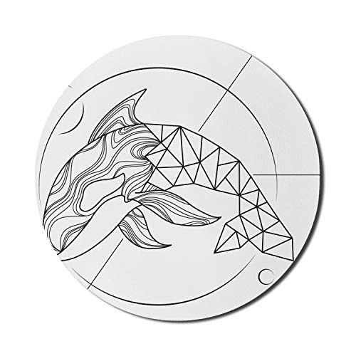 Lunarable Whale Mouse Pad for Computers, Swimming Fish Underwater Ocean Low Poly Style Abstract Modern Danger Sketch, Round Non-Slip Thick Rubber Modern Gaming Mousepad, 8' x 8', Charcoal Grey White