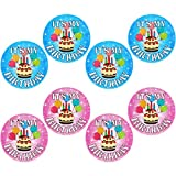 8 Pieces It's My Birthday Button Party Button Pins 2.25 Inches Happy Birthday Pin-Back Badges for Kids Boys Girls Home Classroom Birthday Party Decoration, Blue, Pink