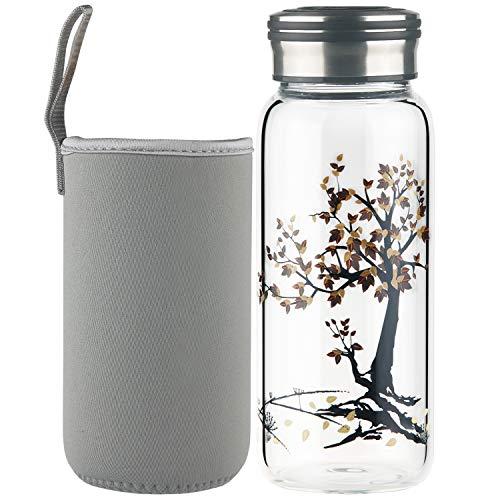 Cleesmil Sport Trinkflasche Glas Wasserflasche 600 ml BPA Free Glasflasche mit Neoprenhülle (Baum)