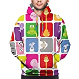 Men's Hoodies Sweatshirts,Cartoon Animals In Colorful Frames Cute Pig Cow Giraffe Hippo Frog Rabbit Sheep,XXX-Large