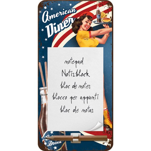 Nostalgic-Art 84032 USA - American Diner Waitress, notitieblok bord 10x20 cm
