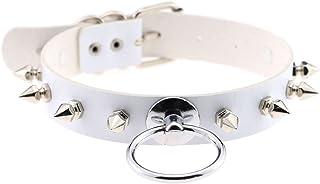 eYLun Women Punk Leather Necklaces Choker Girl Goth Rivet Rock Adjustable Collar Necklaces