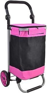 Rueda de cojinete de 17 cm Carrito de la Compra Carretilla de Tubo de Acero Plegable Manija de la Mano Carretilla Ajustable de la Tienda de comestibles (Color : Pink)