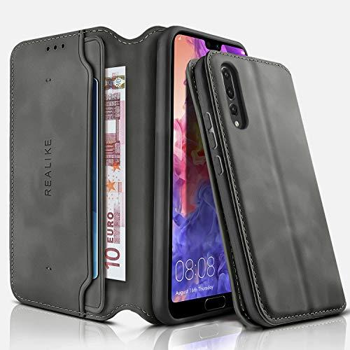 REALIKE für Huawei P20 Pro Hülle Leder handgemachte Brieftasche Hülle Magnetverschluss Tasche mit Standfunktion Kartenfächer und Bargeld Schutzhülle für Männer und Frauen-Grau Schwarz
