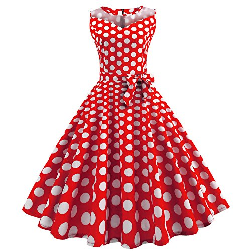 OverDose Damen Urlaub Strand Stil Frauen Vintage Dot Bunte Druck Sleeveless Mesh Patchwork Abend Party Bar Dating Schlank Swing Kleid Rock Dirndl(Wassermelonenrot,EU-40/CN-2XL )