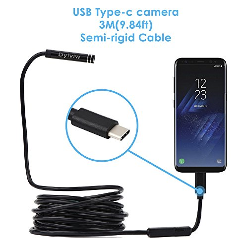 Dylviw 3 Meter(9.84ft) Rigid Cable USB C Endoscope Type C Borescope Inspection Camera 2.0 Megapixels HD Snake Camera for New Android Samsung Galaxy S8, S8 Plus, Google Pixel, Nexus 6p(Not for iPhone)