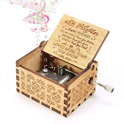 Womdee Music Box, You are My Sunshine for Daughter from Mom Theme, Wooden Classic Music Box Crafts with Hand Crank, 18 Note Mechanism Antique Carved Musical Box Gifts for Kids