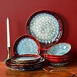 Glazed Stoneware Dinnerware Set 12-Piece Bowl & Plate Set Round Dinnerware Dishware dishes Dinnerware unbreakable Plate sets for 8 dinnerware Dishes sets dinnerware set blue Dishes