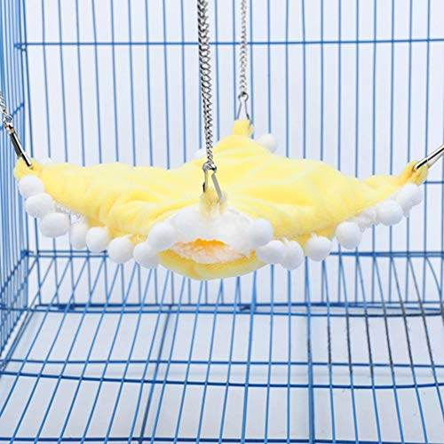 ACHICOO Warmer Doppelschicht-Hängemattenschlafsack für Pet Hamster Squirrel Chinchilla groß Gelb für Heimtierbedarf