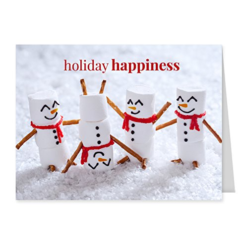 Marshmallow Snowmen Holiday Card Pack - Set of 25 cards - 1 design, versed inside with envelopes