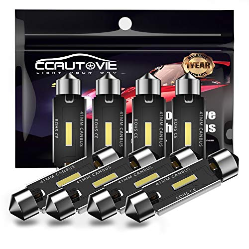 CCAUTOVIE Bombilla LED de 41 mm, sin errores, C5W, para interior de coche, cúpula, mapa, puerta de cortesía, luces de matrícula (41mm 4pcs)