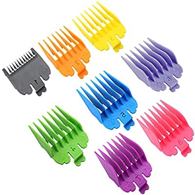 Amelar 8 Color Professional Hair Trimmer/Clippers Gards Cutting Guide Combs-Fit for Most Size Hair Clippers/Trimmers-Great for Professional Stylists and Barbers