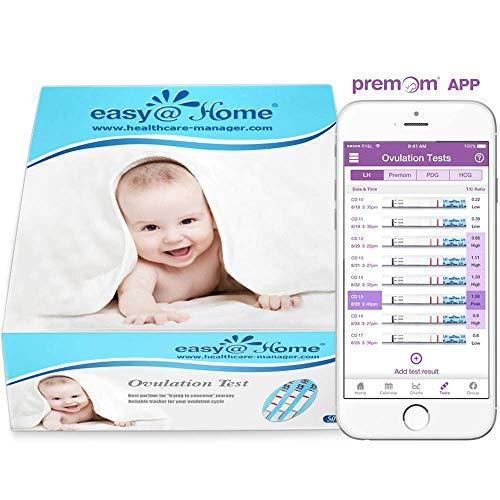 Easy@Home Kinderwunsch 50 x Ovulationstest Fruchtbarkeitstests für Eisprung – Unterstützt durch die kostenlose Premom Ovulation APP, 50 LH Tests