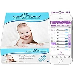 50 Pruebas de ovulación ultrasensibles (25mlU/ml), Easy@Home 50 Tests de Ovulación- Resultados Precisos con la App Premom (iOS & Android) gratuita Español