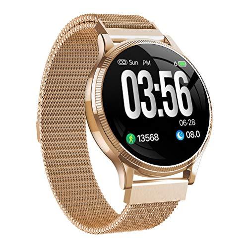 Reloj inteligente con pantalla táctil Rastreador de ejercicios, Ip67 Waterproof Ladies Fashion Pulsera inteligente, ritmo cardíaco y podómetro de monitoreo de presión arterial, para Ios y Android