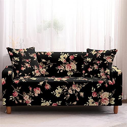 Surwin Funda de Sofá Elástica para Sofá de 1 2 3 4 plazas, Impresión Universal Antideslizante Cubierta de Sofá Cubre Cover Moda Sofá Funda Furniture Protector (Rosa Larga,1 Plaza - 90-140cm)