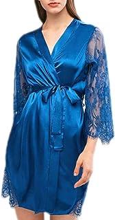 Cardigan Pajamas, Ladies Robe, Cardigan Thin Pajamas, lace Casual Home wear, Summer Thin Pajamas, Belt Design, Soft and Comfortable (Color : Blue, Size : S)