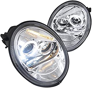 Spec-D Tuning LHP-BEE98-TM Volkswagen Beetle Chrome Clear Halo Projector Head Lights
