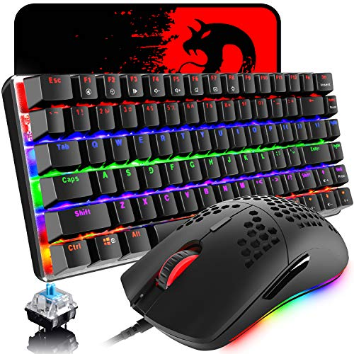Gaming Keyboard and Mouse,3 in 1 Rainbow LED Backlit Wired Mechanical Keyboard Blue Switch,RGB 6400 DPI Lightweight Gaming Mouse with Honeycomb Shell,Gaming Mouse Pad for PC Gamers
