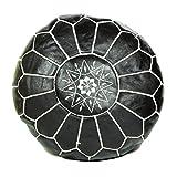 ALMADIH Pouffe Negro otomano bordado Cojín de cuero genuino Taburete - 100% hecha a mano - 50x35 cm Cojín de suelo marroquí oriental Asiento para silla de pie Salón o dormitorio Reposapies Puf Poof