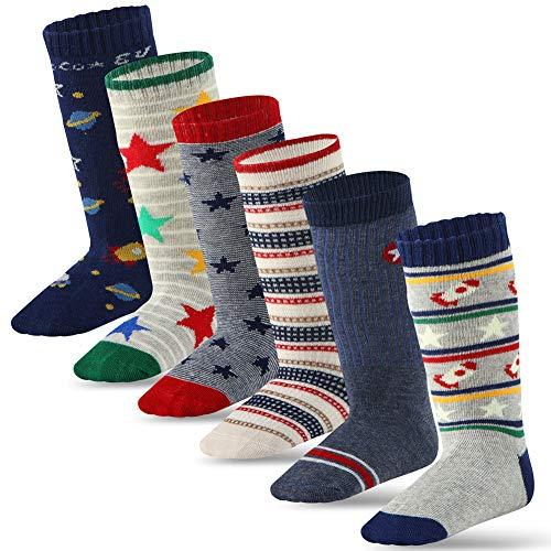 Cottock 6 Paar Kleinkind Jungen ABS Rutschfeste Socken Knie Hoch Baumwolle Handgriffsocken, Baby Jungen Anti-Rutsch-Socken