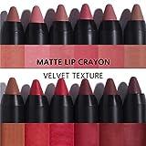 Langmanni, set da 12 matite e rossetti per labbra effetto matt, cosmetici impermeabili con rivestimento antiaderente