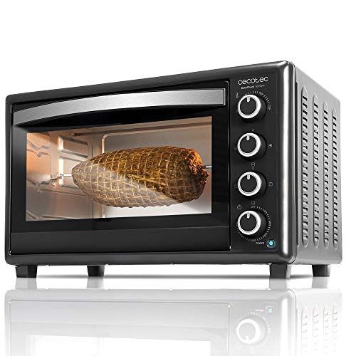 Cecotec Bake&Toast 750 Gyro - Horno Conveccion Sobremesa, 2000 W, 12 Modos, Temperatura hasta 230ºC y Tiempo hasta 60 Minutos, Incluye Accesorio Rustidor con pinzas, Capacidad 46L 37x57x39cm