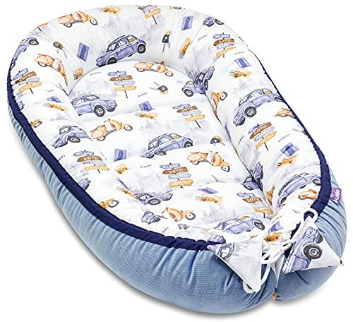 JUKKI® Babynest Comfort VELVET 55x100 cm, Babynestchen für Neugeborene, Babycare Bettchen, Baby Nestchen Bett, Kuschelnest für Babybett, Babynestchen - Retro Trip