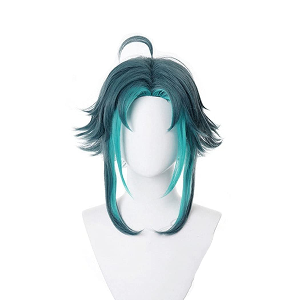 Linna Xiao Cosplay Wig Anime Fluffy Luxury Gradient Blue High order Curly Heat