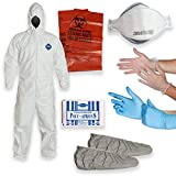 DuPont Tyvek Coverall with Multipurpose Cleanup Kit including 3M 9210 N95 Respirator Mask, Shoe Covers, Polyethylene Apron, 2 Pair of Protective Gloves, Biohazard Disposal Bag (Large)
