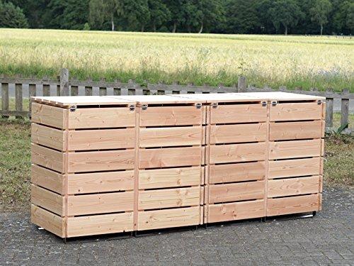 4er Mülltonnenbox / Mülltonnenverkleidung 120 L Holz, Douglasie Natur - 4