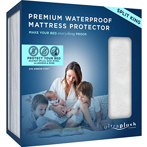 UltraPlush Premium Waterproof Mattress Protector, Luxurious, Soft & Comfortable, Protects Against Dust Mites and Allergens, Motorhome, Camper and Travel Trailer Mattresses (RV Split King)