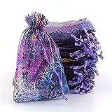 ASR Lot de 100 sacs à friandises, goûters, bracelets, pierres artisanales, bijoux, sacs à cordon (A,9 x 12 cm)