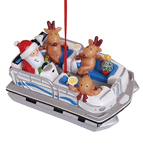 Cape Shore Santa and Reindeer in Pontoon Party Boat Christmas Tree Holiday Ornament Decoration