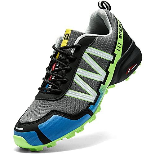 Dhinash Trekking Wanderschuhe Herren Outdoorschuhe Sneaker Wanderhalbschuhe Sneaker Leicht Atmungsaktiv Trekkingschuhe Sportschuhe rutschfeste Walkingschuhe Grau Grün Gr.46