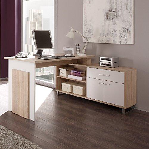 moebel-guenstig24.de Schreibtisch Eckschreibtisch Manager mit integriertem Sideboard/Farbe: Eiche Sonoma/Wei�