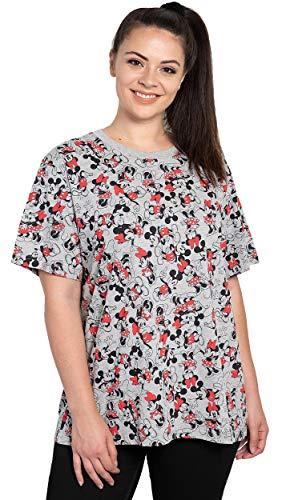 Disney Womens Plus Size T-Shirt Mickey & Minnie Mouse Print (Heather Grey, 4X)
