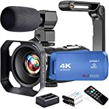 Video Camera, Zohulu 4K Camcorder WiFi Ultra HD 48MP YouTube Camera for Vlogging, 3.0'' IPS Screen 18X Digital Zoom Video Camera with Microphone, 2 in 1 Charger, 2 Batteries (SD Card not Included)