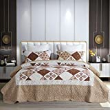 Qucover Tagesdecke Bettüberwurf 230x250cm, Patchworkdecke Set mit Kissenbezüge, Dünne Steppdecke für Frühling und Sommer, aus Polyester Mikrofaser