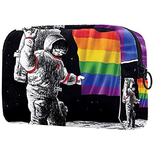 Bolsa Maquillaje Almacenamiento organización Artículos tocador cosméticos Estuche portátil Bandera de Orgullo Gay del Astronauta Espacial para Viajes Aire Libre