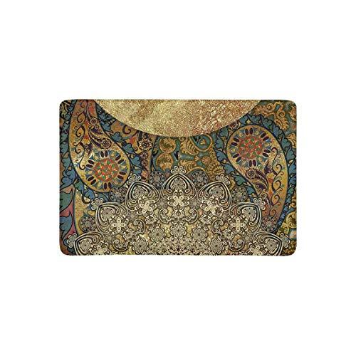 LVOE TTL Abstrakte, bunt gemusterte und goldene Paisley-Mandala-Fußmatte Rutschfester Fußmatten-Teppich für Innen und Außen, Fußmatten-Gummirücken für Eingangsteppiche, 60 x 40 cm