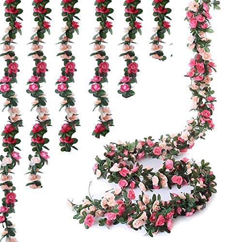 6pcs 49 FT Rose Vine Flowers Plants - BSTC Artificial Flower Fake Flowers Rose Vine Ivy Garlands Hanging for Wedding Party Garden Wall Decoration Silk Flowers Pink