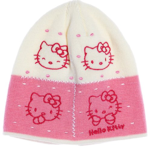 Hello kitty-Bonnet visage de kitty enfant fille ref 4007 écru/rose 5/8ans